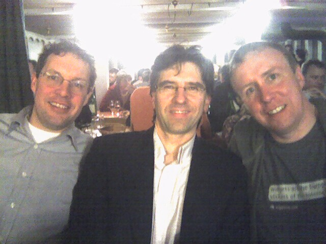 David Brown (left), Paul Elosegui and Ivan Pope (right) at LIFT 07 Fondue Dinner